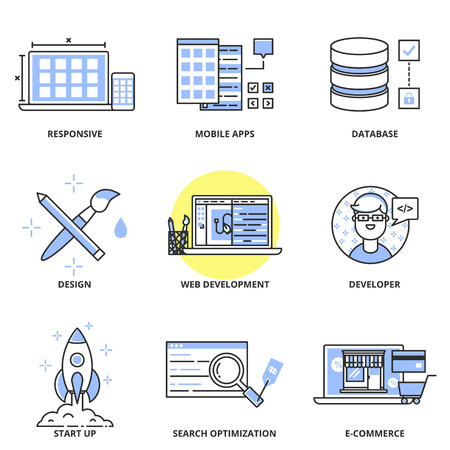 development process: Web development and design vector icons set: responsive optimization, mobile apps, database, design, web development, developer, start up, SEO, e-commerce. Modern line style