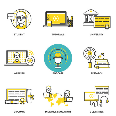 Education and e-learning vector icons set: student, tutorials, university, webinar, podcast, research, diploma, distance and online education. Modern line style