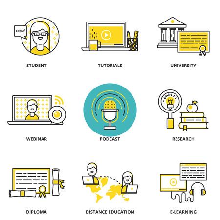 교육 및 전자 학습 벡터 아이콘 설정 : 학생, 튜토리얼, 대학, 웹 세미나, 포드 캐스트, 연구, 졸업장, 거리 및 온라인 교육을. 현대 선 스타일