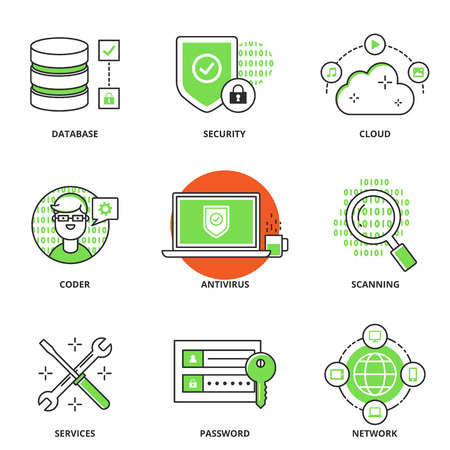 coder: Computer network and security vector icons set: database, security, cloud computing, coder, antivirus, scanning, services, password, networking. Modern line style Illustration