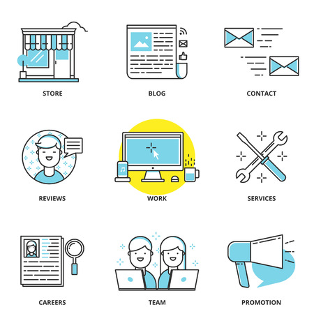 Website navigation vector icons set: store, blog, contact, reviews, work, services, careers, team, promotion. Modern line style Illusztráció