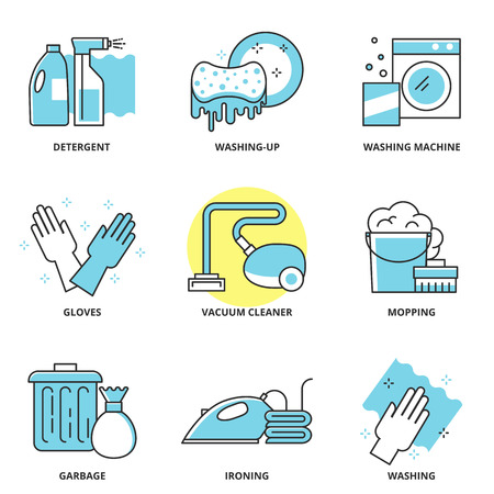 Cleaning vector icons set: detergent, washing-up, washing machine, gloves, vacuum cleaner, mopping, garbage, ironing, wash. Modern line style