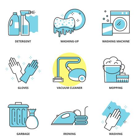 Pulizia set di icone vettoriali: detergente, lavare i piatti, lavatrice, guanti, aspirapolvere, rastrellamento, immondizia, asse, lavare. Moderno stile di linea Archivio Fotografico - 41695321