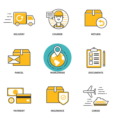 Logistics and delivery vector icons set: delivery, courier, return, parcel, worldwide, documents, payment, insurance, cargo. Modern line style