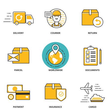 rendement: Logistiek en levering vector iconen set: levering, koerier, terugkeer, perceel, wereldwijd, documenten, betaling, verzekeringen, lading. Moderne lijn stijl Stock Illustratie