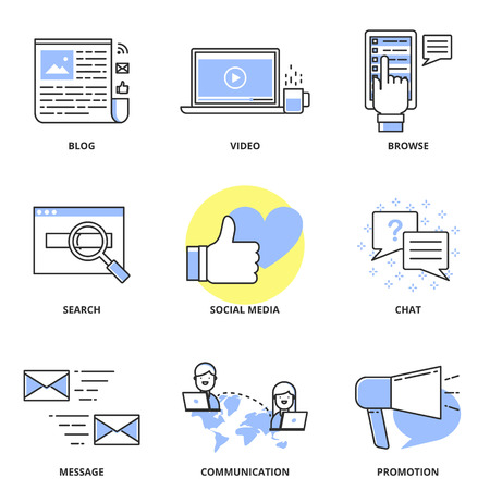 video icons: Social media marketing and internet vector icons set: blog, video, browse, search, social media, chat, message, communication, promotion. Modern line style