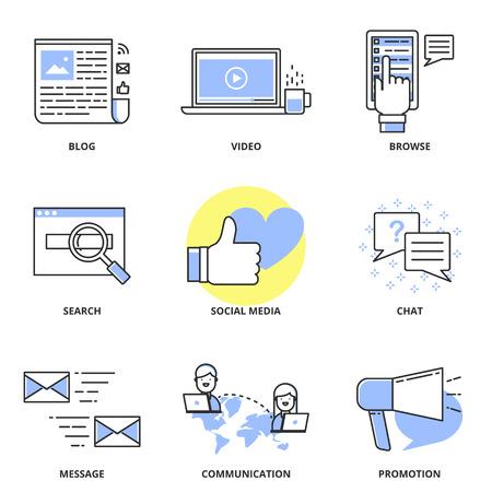 Social media marketing en internet vector iconen set: blog, video, bladeren, zoeken, sociale media, praatje, bericht, communicatie, promotie. Moderne lijn stijl Stock Illustratie