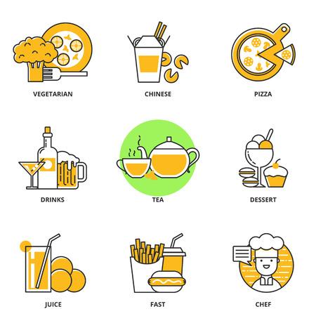 Eten en drinken vector iconen set: vegetarisch eten, Chinees eten, pizza, alcoholische dranken, thee, dessert, sap, snel, chef-kok. Moderne lijn stijl