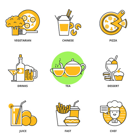 Food and drink vector icons set: vegetarian food, chinese food, pizza, alcoholic drinks, tea, dessert, juice, fast, chef. Modern line style Ilustração