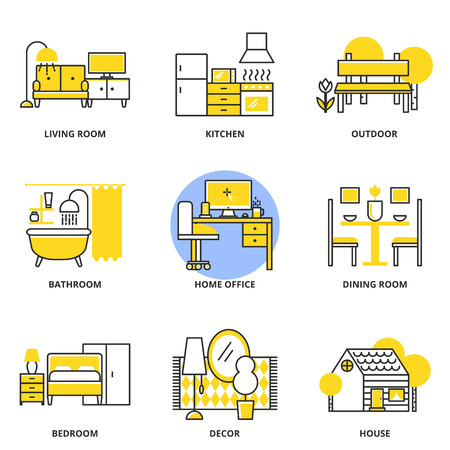 living: Furniture vector icons set: living room, kitchen, outdoor, bathroom, home office, dining room, bedroom, decor, house. Modern line style Illustration