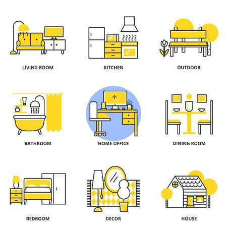 Möbel Vektor-Icons gesetzt: Wohnzimmer, Küche, im Freien, Badezimmer, Arbeitszimmer, Esszimmer, Schlafzimmer, Dekor, Haus. Modernen Linienstil
