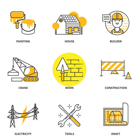 Construction vector icons set: painting, house, builder, crane, work, under construction, electricity, tools, draft. Modern line style