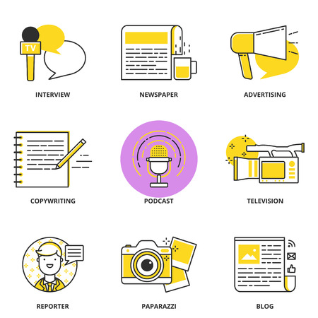 Journalistiek en media vector iconen set: interview, krant, reclame, copywriting, podcast, televisie, verslaggever, paparazzi, blog. Moderne lijn stijl Stock Illustratie