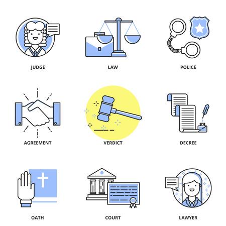 justicia: Iconos Ley conjunto de vectores: juez, la justicia, la policía, acuerdo, sentencia, decreto, juramento, corte, abogado. Estilo de línea moderna