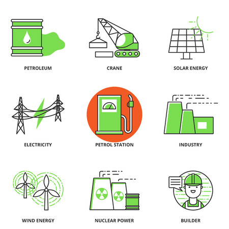 nuclear vector: Industry vector icons set: petroleum, crane, solar energy, electricity, petrol station, factory, wind energy, nuclear power plant, builder. Modern line style