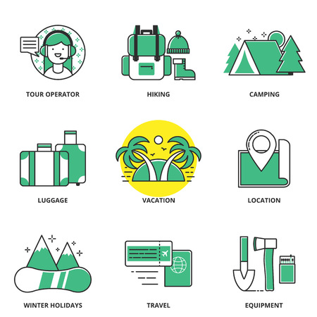 tour operator: Hiking and camping vector icons set: summer and winter holidays, vacation, travelling. Modern line style