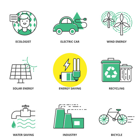 save electricity: Ecology vector icons set: ecologist, electric car, wind energy, solar energy, energy saving, recycling, water saving, industry, bicycle. Modern line style Illustration
