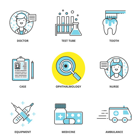medicina: Iconos m�dicos conjunto de vectores: m�dico, tubo de ensayo, cuidado dental, de casos, oftalmolog�a, enfermeras, equipos, medicamentos, ambulancias. Estilo de l�nea moderna
