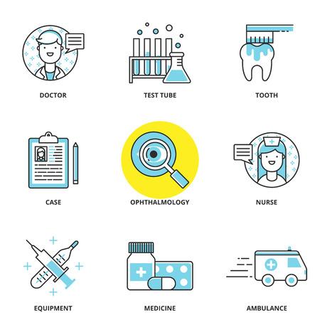 ophthalmology: Medical vector icons set: doctor, test tube, dental care, case, ophthalmology, nurse, equipment, medicine, ambulance. Modern line style