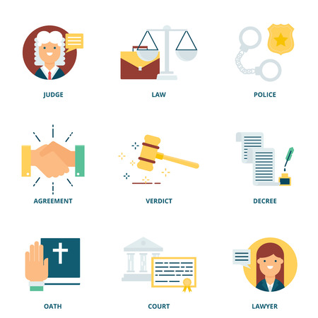 Law vector icons set modern flat style Illustration