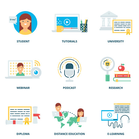 learning: Education and e-learning vector icons set modern flat style