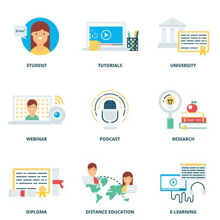 aprendizaje: Iconos de la educación y vectoriales e-learning establecen estilo plano moderno