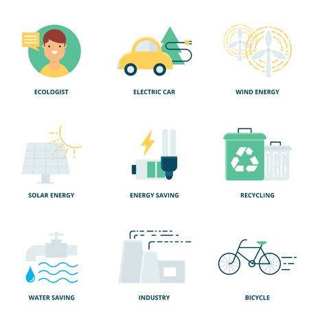 ahorrar agua: Ecolog�a iconos conjunto de vectores estilo plano moderno