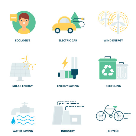 leaves on water: Ecology vector icons set modern flat style