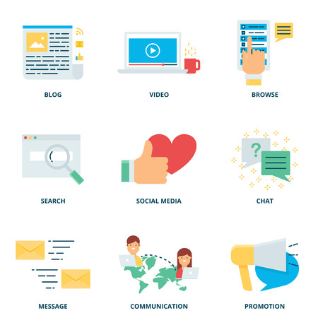 internet marketing: Social media marketing and internet vector icons set set modern flat style Illustration