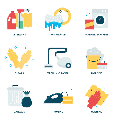 household chores: Cleaning vector icons set modern flat style