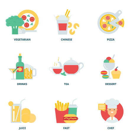 vegetarians: Food and drink vector icons set modern flat style