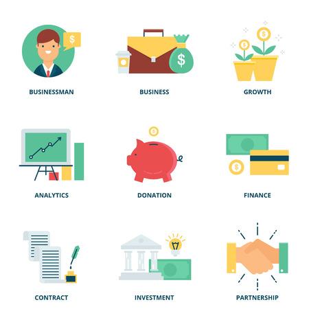 argent: Services bancaires et vecteur finance icons set de style appartement moderne Illustration
