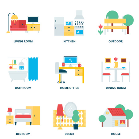 Furniture vector icons set modern flat style