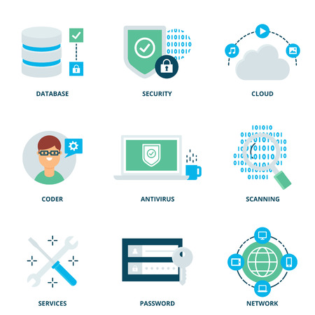 coder: Computer network and security vector icons set modern flat style