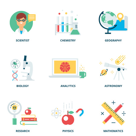 molecular science: Science vector icons set modern flat style