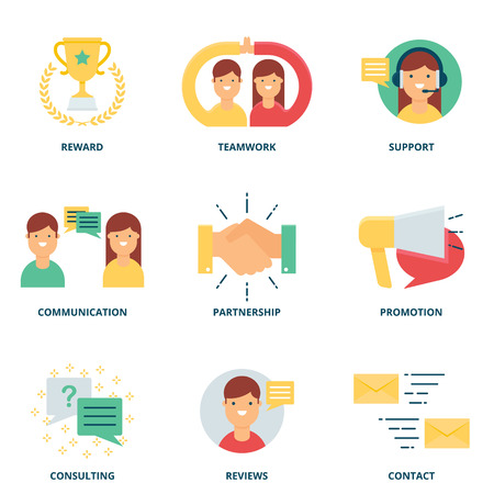 business services: Customer support and management vector icons set modern flat style Illustration