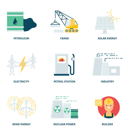 energy icon: Industry vector icons set modern flat style
