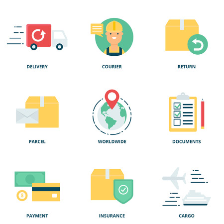 shipment: Logistics and delivery vector icons set modern flat style
