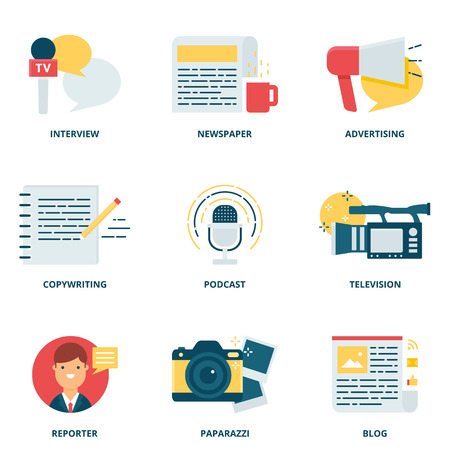 blog icon: Journalism and mass media vector icons set modern flat style