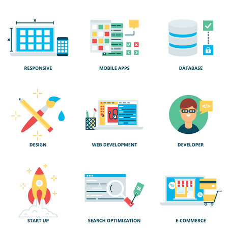 design process: Web development and design vector icons set modern flat style Illustration