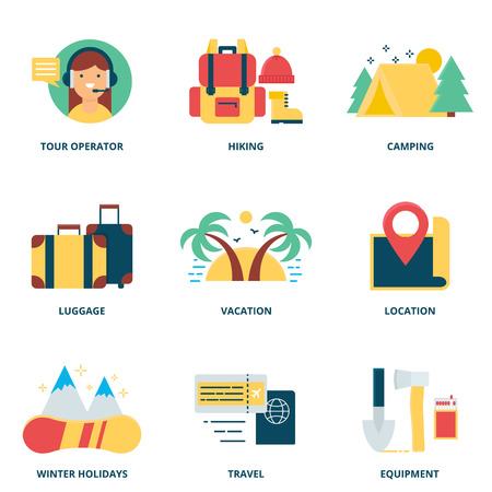 tour operator: Hiking and camping vector icons set modern flat style