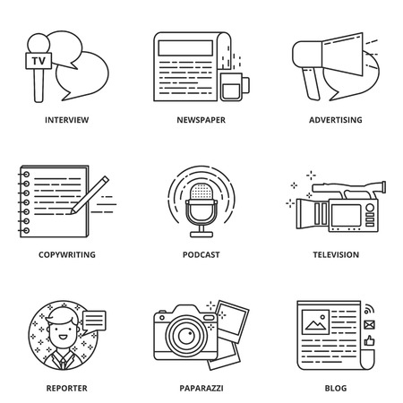mass media: Journalism and mass media vector icons set modern line style