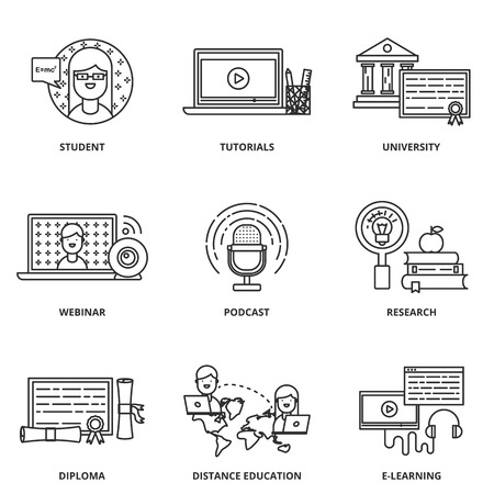 tutorials: Education and e-learning vector icons set modern line style Illustration