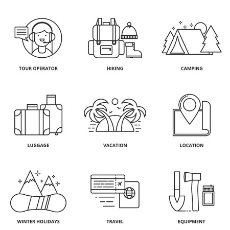 tour operator: Hiking and camping vector icons set modern line style