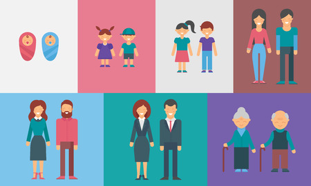 vejez feliz: Infancia, adolescencia, adultez, vejez. Generaciones. Personas de diferentes edades vector ilustración de infografía