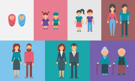 Infanzia, adolescenza, maturità, vecchiaia. Generations. Persone di età diverse vettore illustrazione per infografica
