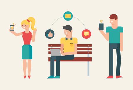 usando computadora: Ilustración vectorial de la gente que usa aparatos modernos: smartphone, tableta, ordenador portátil Vectores