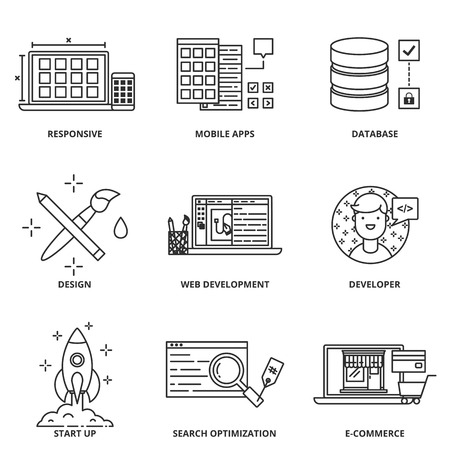 strategy development: Web development and design vector icons set modern line style Illustration