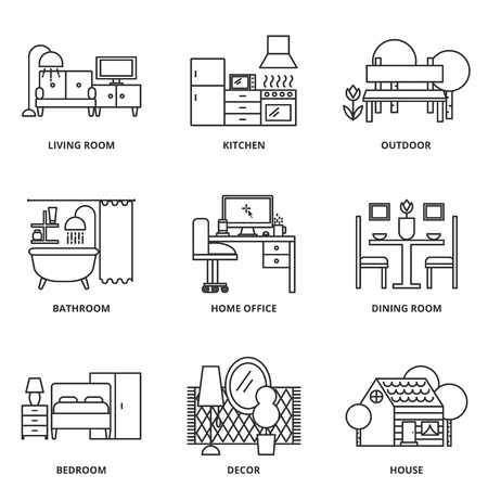 dining table and chairs: Furniture vector icons set modern line style Illustration