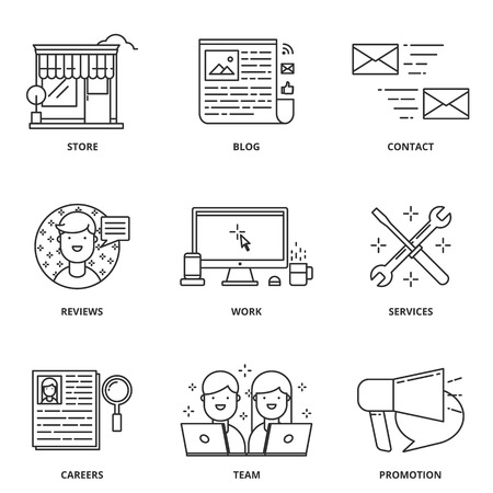 navigation icons: Website navigation vector icons set modern line style